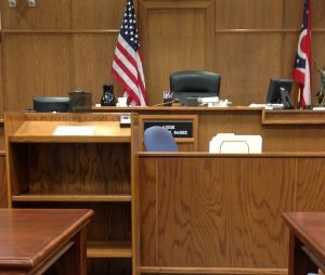 Courtroom scene.